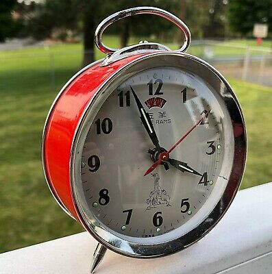 VINTAGE FIVE RAMS ALARM CLOCK Red Fully Working RARE!