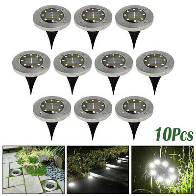 10X 8LED Solar Power Buried Disk Light Ground Lawn Waterproof Lamp Cool White