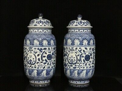 """13"""" Chinese Antique Porcelain Xuande mark Blue & white flowers cover jar A Pair"""