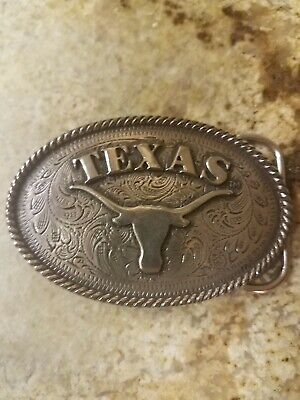 Vintage Texas Longhorn Rope Edge Design Belt Buckle By Enmon