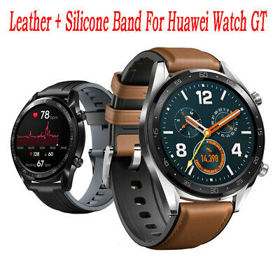 Smart Watch Leder +Silikon Wrist Armband Strap für Huawei Watch GT / Active 46mm