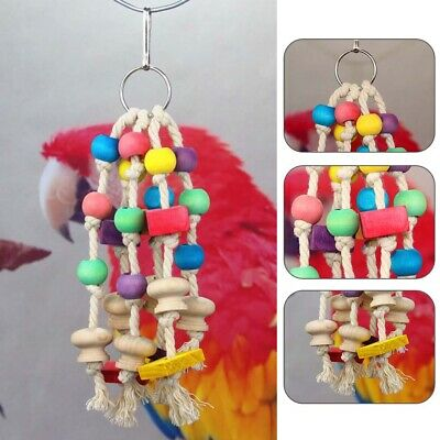 Wooden Cotton Rope Colorful Parrot Chew Toys Pet Birds Funny Hanging Swing Cage