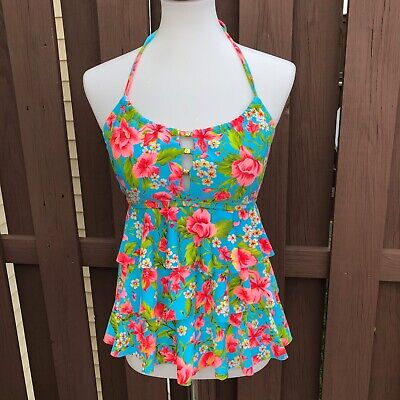 7814ad2ca2 Catalina Women's Small 4/6 Tankini Top Swimsuit Floral Ruffle Halter Open  Back