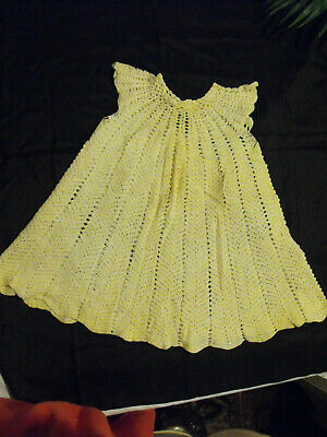 Antique Baby Dress Hand Tatted/Crochet Cotton Glass Button Soft
