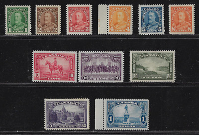 Canada Stamps -Complete Set of 11 - King George V Pictorial Issue #217@27 MNH/MH