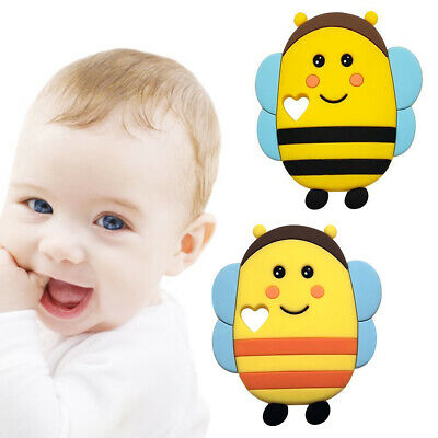 Silicone Cute Bee Baby Toys Teether Teething Collar Pacifier Clips Chew Supplies