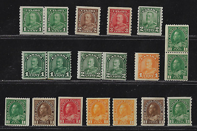"Canada Stamps - King George V ""Various Coil Issues"" - MNH/MH"