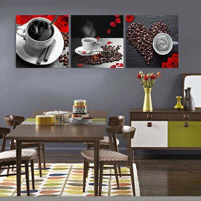 FA_ 3 Pcs Wall Art Paintings Coffee Beans Canvas Unframed Pictures Home Decor