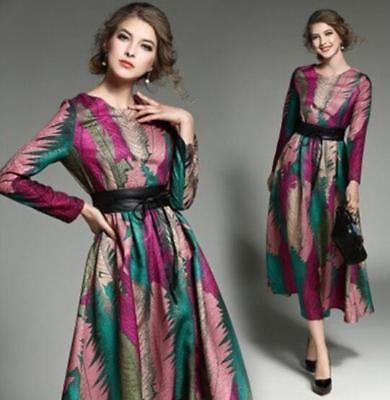 Womens Retro Floral Maxi Gown Jacquard Casual New Swing Long Dress Long Sleeve