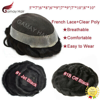 French Lace Mens Toupee Poly Around Hairpiece Human Hair Systems Black Mens Wigs