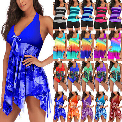 Women Halter Floral  Tankini Bathing Suit Swimdress Swimwear Beachwear Plus Size