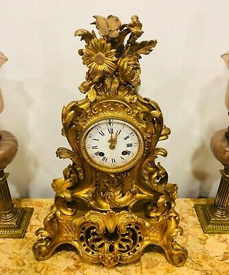 Magnificent Antique French Bronze Table Clock From 1880