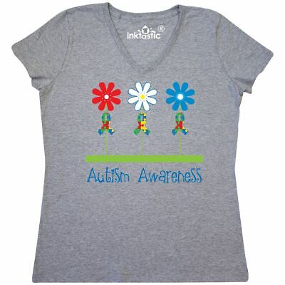 aff0540c4 Inktastic Autism Awareness Walk Support Flowers Women's V-Neck T-Shirt  Autistic