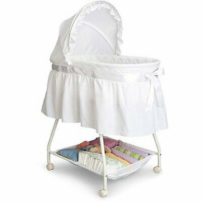 Portable Baby Bassinet Classic Infant Cradle w/ Washable Fitted Mattress Sheet