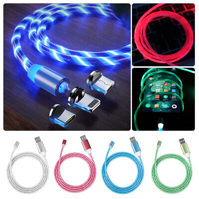 Flow Luminous Magnetic Charger Cable IOS Lightning Micro USB Type-C Fast Charger