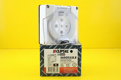 Clipsal 56SO532LE Socket Outlet 5 Round Pin 3 Phase 500V ac 32A (Less Enclosure)