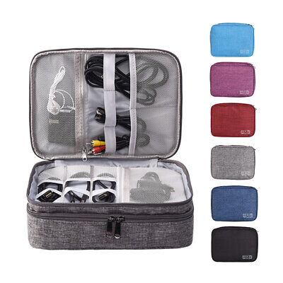 Double Layer Organizer Travel Storage Hand Bag Electronics Accessories Box Case