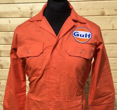 "Rare Fine Goodwood Revival McQueen Gulf Badged Orange Overalls 38"" Chest"