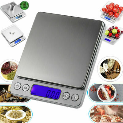 0.01-500g Kitchen Food Scale Digital LCD Electronic weight Scales Grey+ 2 Trays