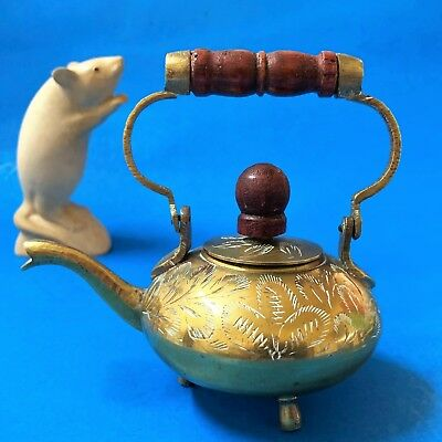 Mini Brass Kettle Ornament - Pours, Swing Handle, Chased Pattern  -11cm, 150ml