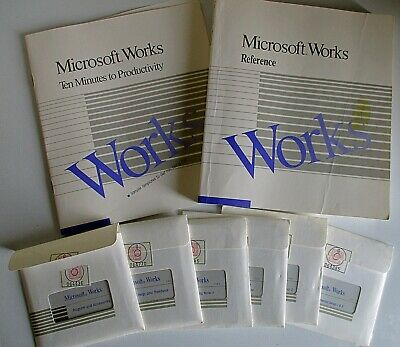 "RARE / VINTAGE MICROSOFT WORKS VERSION 2.00 FOR DOS (6 No. 3½"" FLOPPY DISKS)"