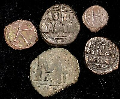 Lot (5) Ancient AE Late Roman Empire or Byzantine Total Weight 40.6g
