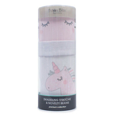 NEW Bubba Blue Unicorn Magic Swaddling Stretchie & Beanie Set