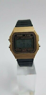 Genuine Casio F91W Men's LCD Alarm Stopwatch Black & Gold Resin Strap Watch ~NEW