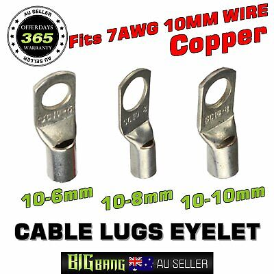 Cable Lugs Eyelet Wire 10MM2 Rings Terminals Hole 6mm 8mm 10mm Crimped or Solder