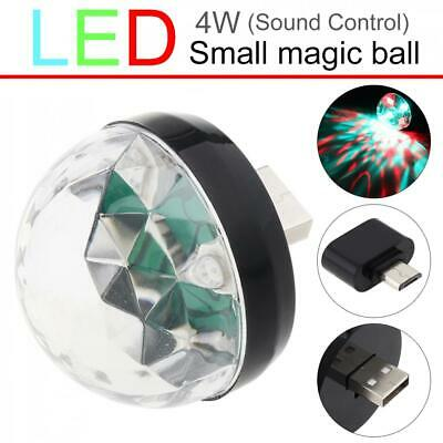 Mini USB LED Sound Active Light Crystal Magic Ball RGB Colorful Stage Light 4W