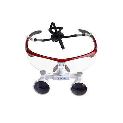 Red Dental Binocular Magnifying Loupes 3.5X 420mm Optical Glass USA Sales