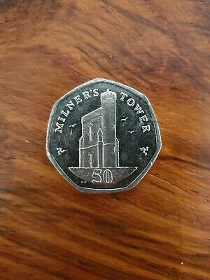 Milner Tower 50p - Isle of Man Fifty Pence Coin Manx Rare