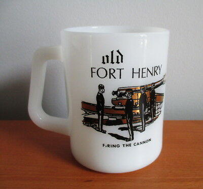 Federal Milk Glass Mug Old Fort Henry Firing Cannon Black Gold Canada Souvenir