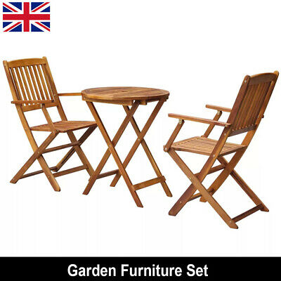 Outdoor Bistro Set Garden Patio Furniture Folding Chair and Round Table Wooden