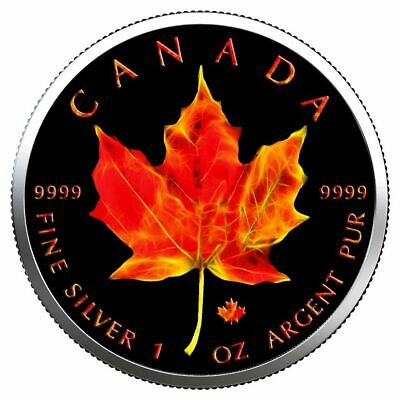 CANADA 2019 $5 MAPLE LEAF 1 Oz 9999 SILVER COLOR MINTAGE 100 PCS WITH COA v3