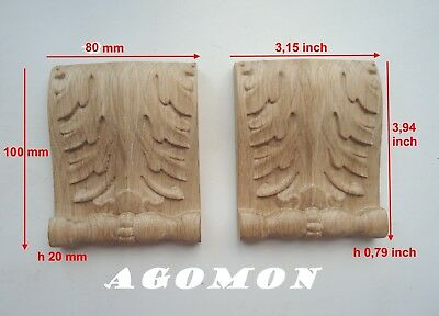 Wood carved corbel, set 2 pc, onlay applique sticker for home decor furniture