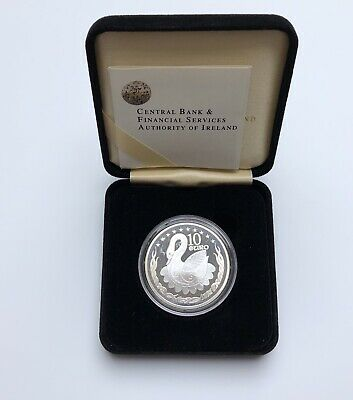 Ireland Central Bank Silver Proof €10 Coin Celtic Swan 2004