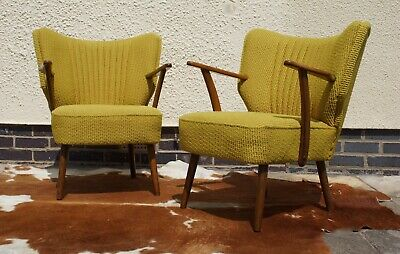 Pair Of Mid Century Vintage East German Cocktail Armchairs / Chairs  May19-13