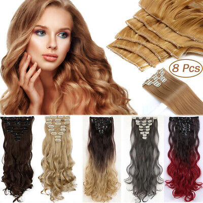 100% Real Thick Clip In Hair Extensions Long Wavy Full Head Hair Extentions UDW8