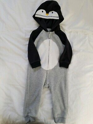 19a5c6c0a Carters Penguin Baby Boys Hooded Fleece Romper Jumpsuit, 18 Month