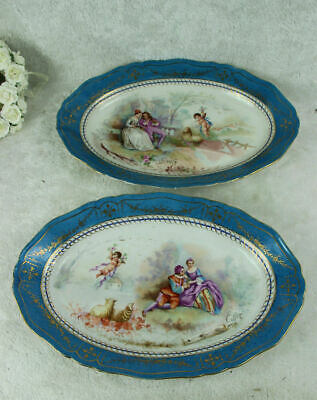 PAIR large antique French SEvres porcelain putti romantic victorian plates