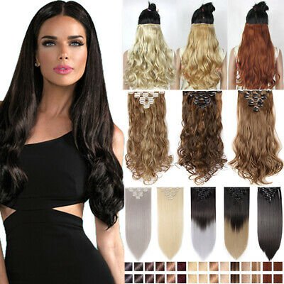 Real Long 100% Natural Extensions Clip in 18 Clips On Full Head Like Human HAIR