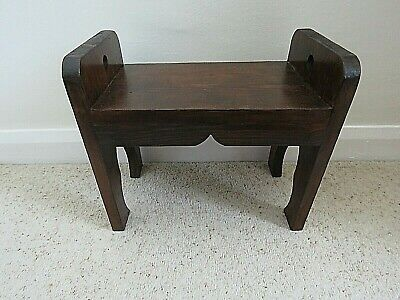 Small foot stool or display - wooden with curved detail - rustic style
