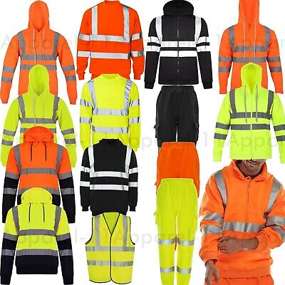 High VIZ VIS HI VISIBILITY Jacket Hoodie Sweat shirt Hooded Fleece Zipped Collar