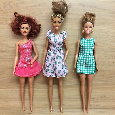 Barbie Fashionistas 3x Doll Bundle - Emerald Check, Cactus Print, Sparkly Pink