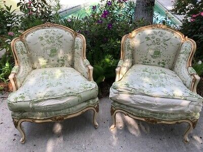 Pair of Vintage Louis XV Style Marquise Winged Bergere Armchairs