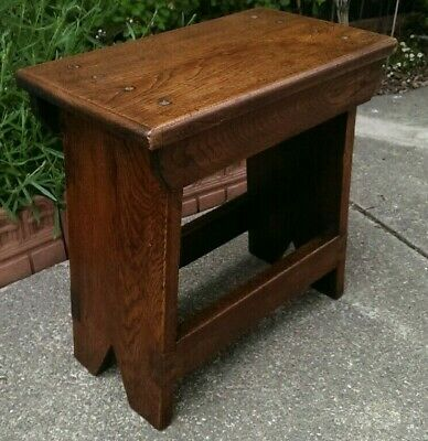 Antique Oak Arts & Crafts Style Stool or Side Table 46 cms Tall x 46.5 x 27.5 cm