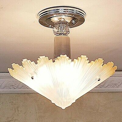 641b Vintage arT Deco Ceiling Light Lamp Fixture Glass Re-Wired