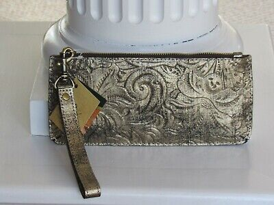 PATRICIA NASH Gold Metallic St Croce Tooled Leather Wristlet Clutch  NWT $69