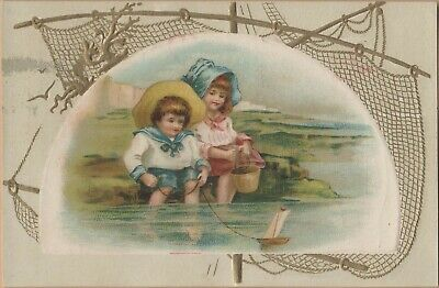 Embossed Victorian Trade Card-Bromo Sedlits-Baltimore, MD-Kids w/ Toy Sailboat